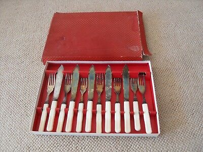 EPNS A1 vintage antique cutlery- five knives and seven forks in a box
