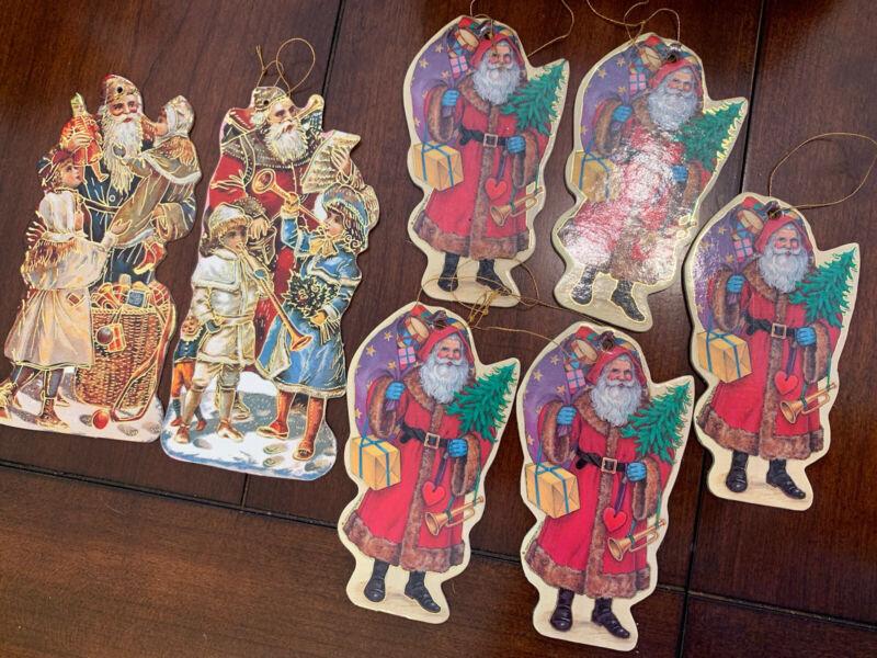 victorian vintage Santa Paper Ornaments Die Cut Cardboard Merrimack Style Lot
