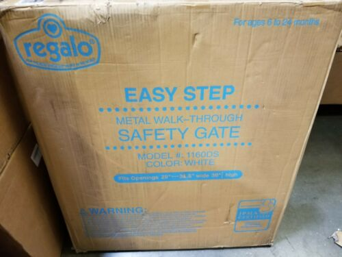 """Regalo Easy-Step Metal Swing Gate 1160DS White 29-38.5"""" Wide 30"""" Tall Baby Pet"""