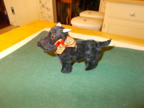 EARLY 1900S MINATURE SCOTTIE DOG ALL ORIGINAL MOHAIR OVER WOOD IN STANDING POSIT