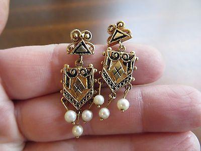 "Victorian Etruscan Style 14k Solid Gold Enamel Real Pearls Dangle Earrings 1.5"""