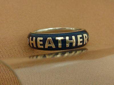 Name HEATHER Diamond and Blue Enamel Ring by Hidalgo 18K White Gold WG Size 4.24