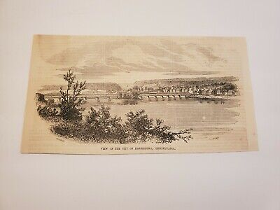 View of the City of Harrisburg Pennsylvania c. 1854 Engraving (G5)
