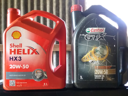 Engine oil 1X  5 litres shell 1X almost 5 litres Castrol GTX