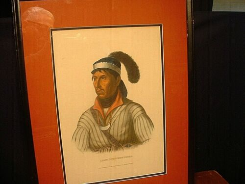 Antique 19ThC Native American Colored Lithograph of Apauly-Tustennuggee