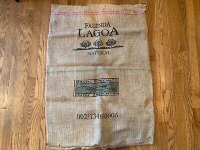 VINTAGE FAZENDA LAGOA NATURAL BRAZIL SPECIALTY Burlap Coffee Bean Sack Bag