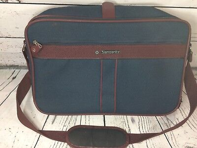 Vintage Samsonite Silhouette 4 blue tweed Carry-on Casual Travel Weekender Bag
