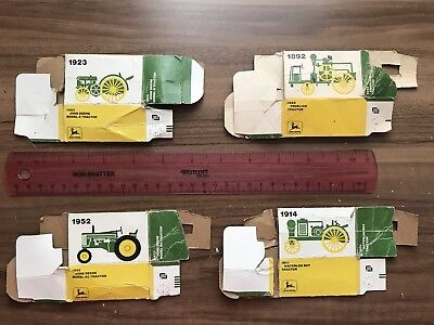 Vintage Ertl John Deere 1/64 Scale Empty Diecast Tractor Boxes, Lot of 4, 1976