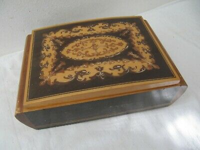 Vintage Inlaid Wooden Musical Jewellery Box Probably Italian (Italy)