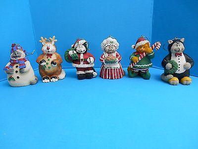 Cat Ornament Set 6 Cats Dressed as Santa Mrs Claus Reindeer Elf Snowman Penguine