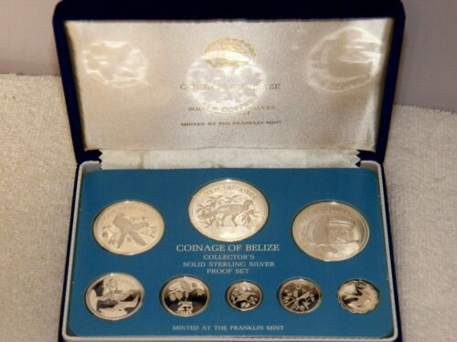 1976 Coinage Of Belize (8) Coin Sterling Silver Proof Set -Original Box & C.O.A.