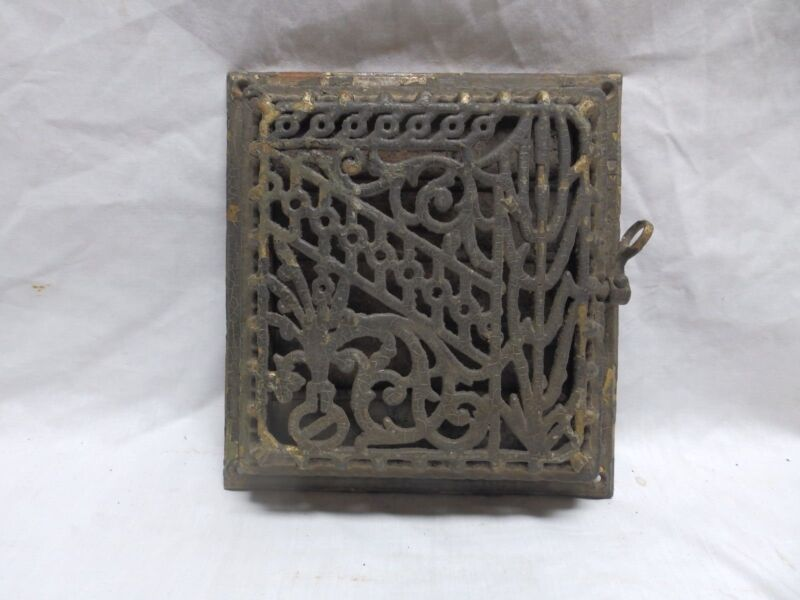 Antique Cast Iron Floor Wall Heat Grate 10x9 Decorative Design Register 352-18P