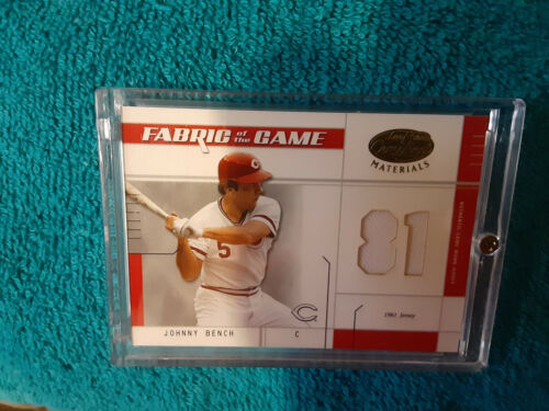 2002 Leaf Fabric Of The Game Johnny Bench jersey Card 21/81 1981 game