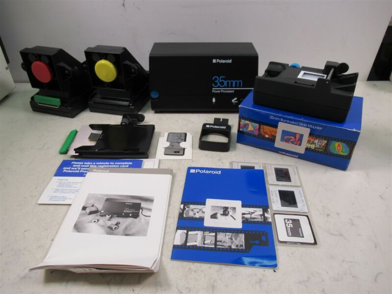 Lot Polaroid Camera 35mm Illuminated Slide Mounter & Power Processor & Palette