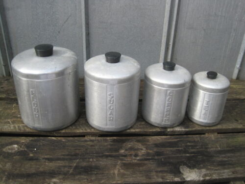 Vintage Atomic Age Aluminum Mid Century Nesting Canister Set B2361