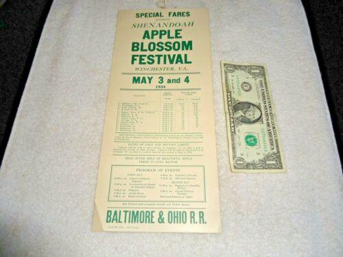 1934 B&O RR Shenandoah Apple Blossom Festival Winchester, VA Adv. Broadside NOS