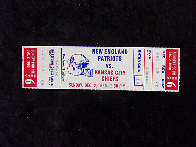 Dec. 2, 1990 New England Patriots vs Kansas City Chiefs Full Ticket Stub T422