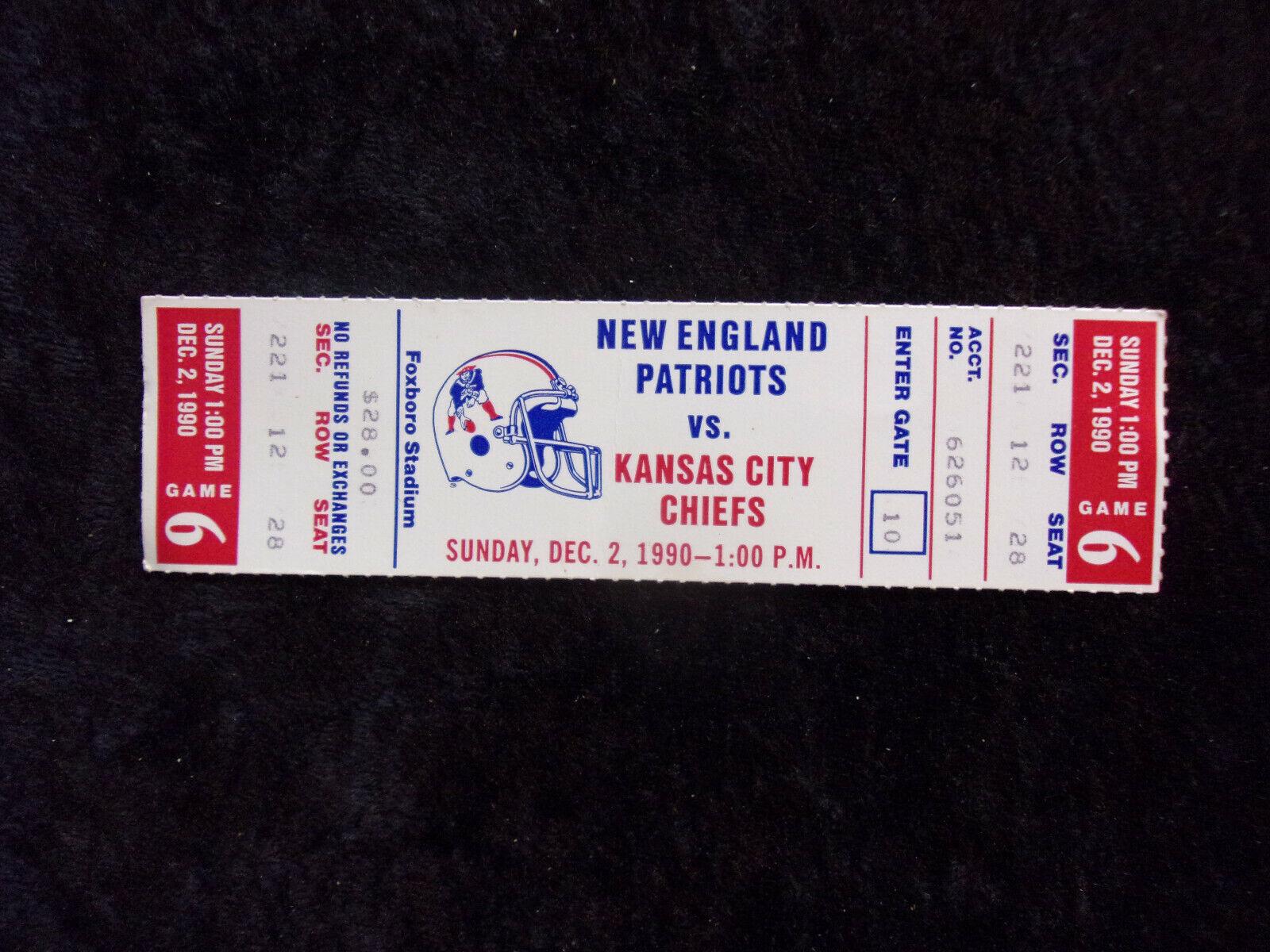 Dec. 2, 1990 New England Patriots vs Kansas City Chiefs Full Ticket Stub T422