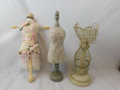 3 Mannequins Decorative Accessory Dress Forms 15 Wood Paper Mache Metal Mesh