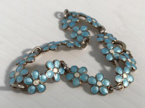 """Vintage Norway Sterling Silvee Baby Blue & White Enamel Link Bracelet 7.5"""""""