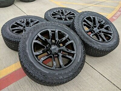 "20"" GMC Sierra AT4 Chevy LTZ 2019 2020 2021 OEM black wheels rims tires A/T 5924"