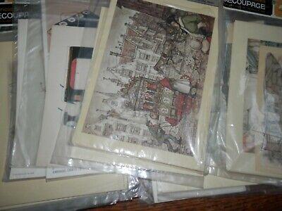 Vintage Lot of  Decoupage Craft Prints, Over 30 Pieces, Lot 2