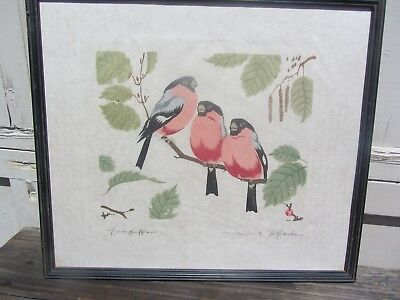 Stunning Japanese Woodblock Signed Vintage Woodblock Print Finches? Birds