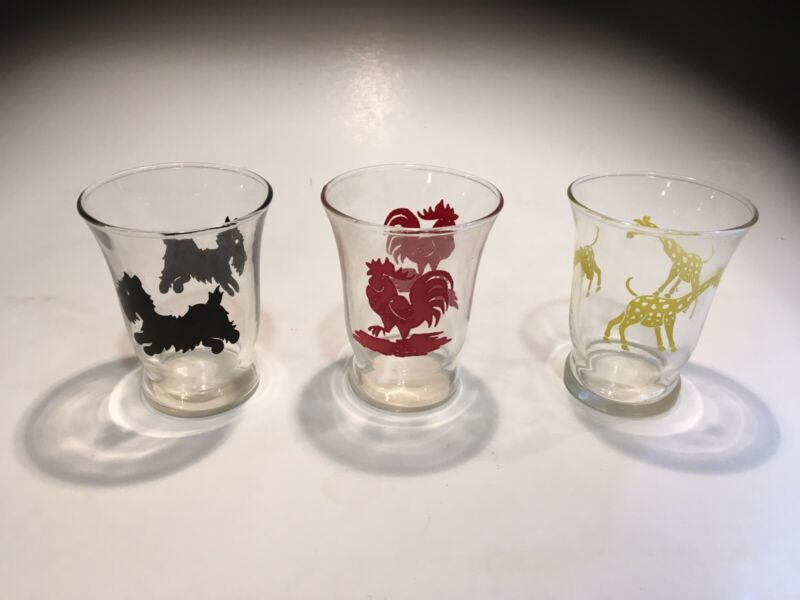 Vintage Swanky Swigs Juice Glasses - Animals Dog, Giraffe, Rooster - Set of 3