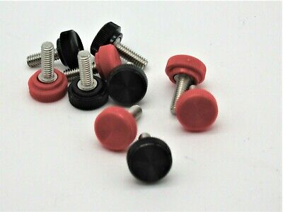 8-32 X 12 Thumb Screws W Knurled Knob. Ss. Red Or Black. Various Pack Sizes