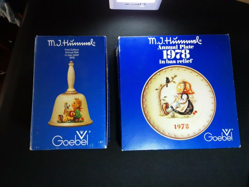 MJ Hummel Bell Goebel Annual Plate And Bell 1978  with Boxes Bas Relief