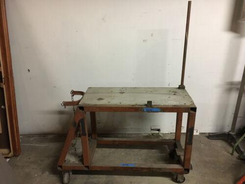 Heavy Duty Steel Frame Welding Table on Wheels w/ large Tank Storage for Mig Tig
