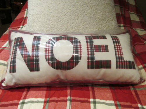 Pottery Barn NOEL Complete INDOOR/OUTDOOR Lumbar Pillow 12X25 NWT - Plaid