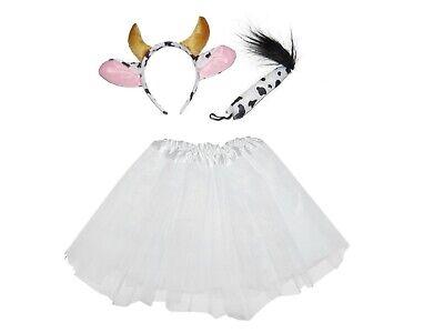 COW TUTU COSTUME WITH EARS KIDS ANIMAL DANCE FANCY DRESS SKIRT HALLOWEEN PARTY - Halloween Cow Ears