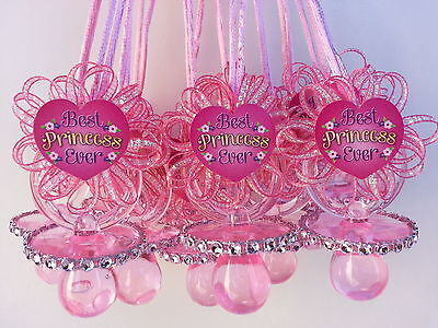 12 Pacifier Necklaces Best Princess Ever Baby Shower Favor Prize~Girl (Best Favors)