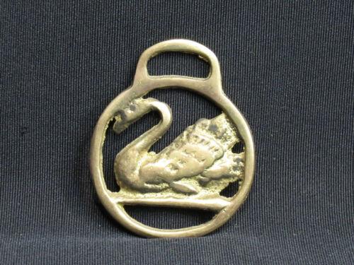 SMALL Swan Bird Horse Brass Medallion Harness Vintage