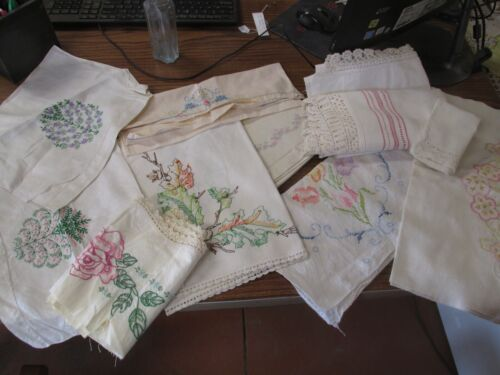 Lot 0f 12 Vintage Embroidered Linens hand towels table runners napkins collect