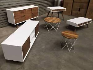 NEW DOMENIQUE SET: BUFFET TV UNIT COFFEE TABLES CONSOLE STRIKING Leumeah Campbelltown Area Preview