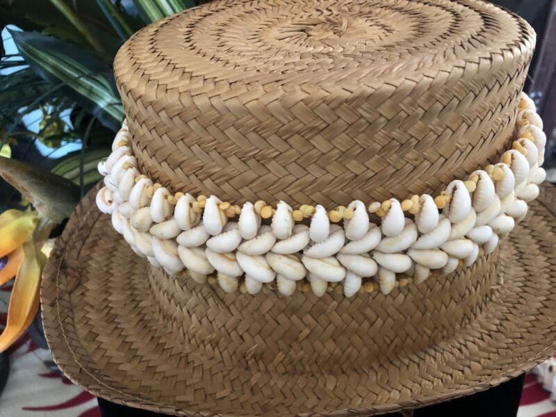 """Tahiti, Tahitian Shell-Pupu Lei Hat Band 22"""" 🌴"""