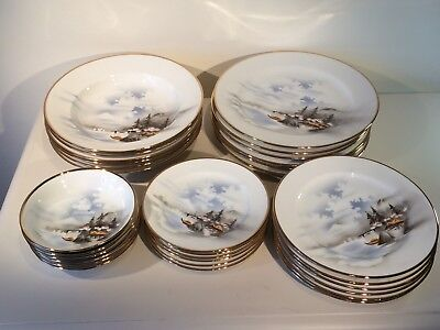 Oriental Dinner Set Made in Japan Hand Painted Gilt Edged 6 Place Setting