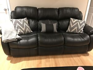 Black Genuine Leather Reclining Sofa / Couch