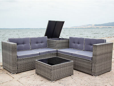 4 PCS Patio Sectional Wicker Rattan Outdoor Furniture Sofa Set with Storage Box