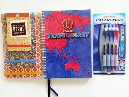 RETRACTABLE ROLLER PENS, 3 PCE NOTE PAD SET & SPIRAL TRAVEL DIARY