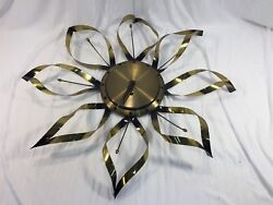 Vintage 23 Atomic Starbust Wall Clock Made In Germany Brass Color