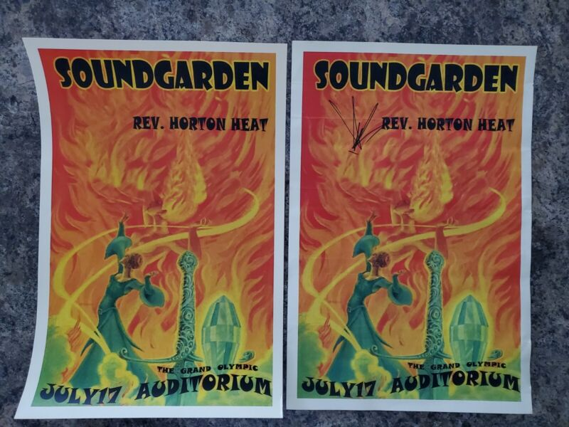(2) RARE Soundgarden Print Autographed by Chris Cornell Signed Poster Authentic
