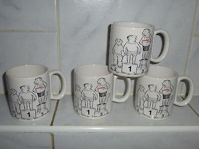 Werbung Tasse,Becher,  mit Aufdruck Lorio - Figuren Schrono Möbel 4Stück