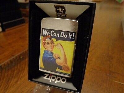 US ARMY ROSIE THE RIVETER PINUP GIRL WWII WE CAN DO IT ZIPPO LIGHTER MINT IN BOX