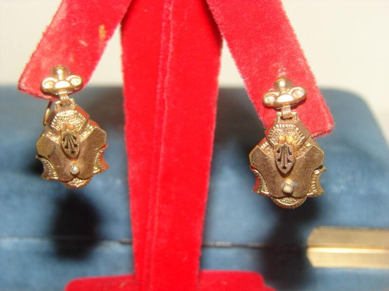 Victorian Taille D'Epargne Black Enamel 12K Gold Filled Seed Pearl Earrings