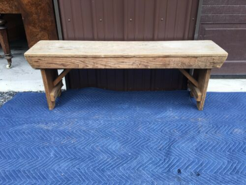 ANTIQUE PRIMITIVE BENCH CROCK TABLE PENNSYLVANIA FARM