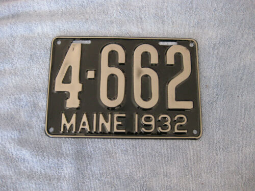 "MAINE ""4""COUNTY 1932 LICENSE PLATE VERY NICE"