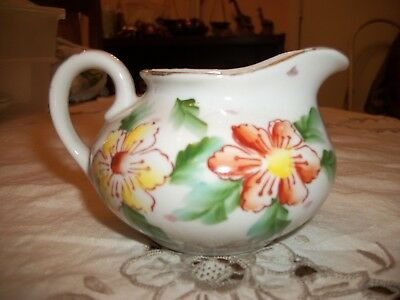 White Creamer With Floral Design - Made in Japan